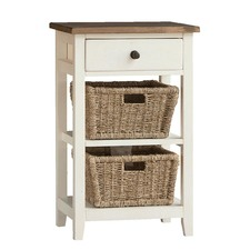 Whitehaven Side Table with 2 Drawer Baskets