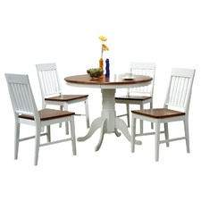 Brenna 5 Piece Two Toned Fixed Dining Setting in White / Antique Oak