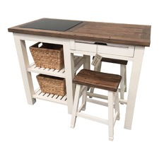 Whitehaven Kitchen Bar with Stools & Baskets