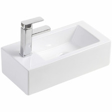 Linea Left Hand Tap Wall Hung Ceramic Basin
