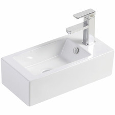 Linea Right Hand Tap Wall Hung Ceramic Basin