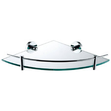 Chrome Michelle Glass Bathroom Corner Shelf