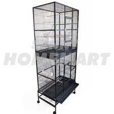 New Extra Large Stand-Alone 2 Level Parrot Aviary Bird Cage on Wheels