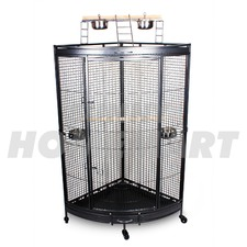 New Large Corner Parrot Aviary Bird Cage with Play Roof Top Ladder Wheels