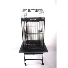 New Large Black Arched Roof Pet Bird Parrot Canary Cage Castor Wheels
