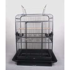 New Large Open Roof Pet Bird Parrot Canary Cage Castor Wheels in Black