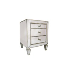 Sara 3 Drawer Mirrored Bedside Table