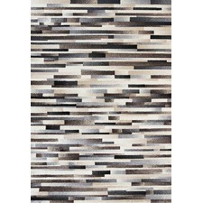 Bone and Grey Cowhide Patchwork Look Rug