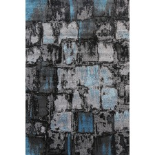 Blue & Grey Distressed Modern Rug