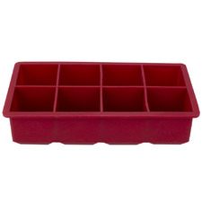 Red 8 Slot Silicone Ice Cube Tray
