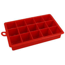 Red 15 Slot Silicone Ice Cube Tray