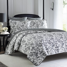 Black & White Amberley Cotton Queen Coverlet Set