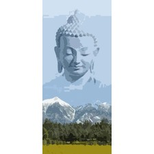 Mountain Buddha Bamboo Single Panel Curtain