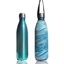 Thermal Future Bottle+ Carry Cover (Sealeaf  Print) - 750 ml Mint