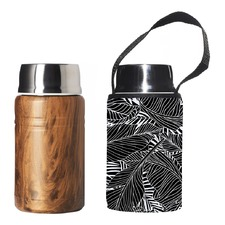 750ml Foodie Insulated Lunch Container & Black Leaf Carry Cover