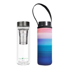 500ml Glass Is Greener Double Wall Tea Flask & Peace Carry Pouch