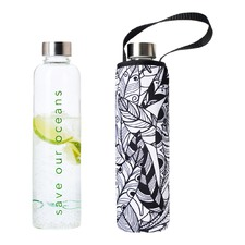 750ml Glass Is Greener Bottle & Feather Carry Cover