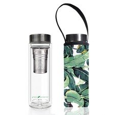 500ml Glass Is Greener Double Wall Tea Flask & Banana Leaf Carry Pouch
