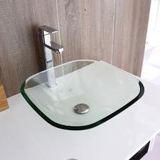 13.8 x 42cm Rectangular Above Counter Glass Basin