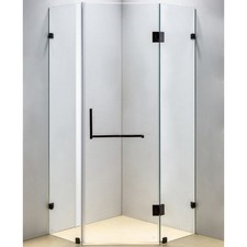 Black Diamond Shower Screen with Square Handle