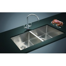 87 x 44cm Double Stainless Steel Kitchen Sink