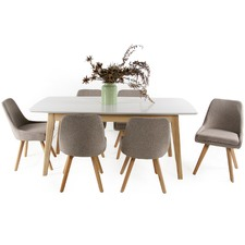 6 Seater Alexandria Dining Table & Upholstered Chairs Set