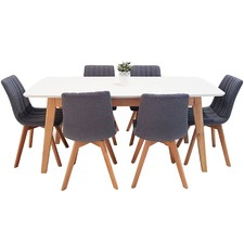 6 Seater White Alexandria Dining Table & Chairs Set