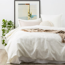 White Cavallo Stone Washed Linen Quilt Cover Set