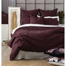 Plum Cavallo Stone Washed Linen Quilt Cover Set