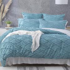 Aqua Chevron Cotton Percale Quilt Cover Set