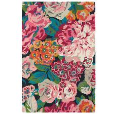 Rose & Peony Cerise Hand-Tufted Wool Rug