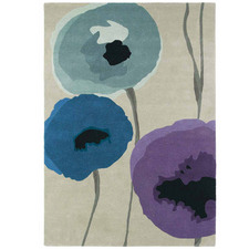 Teal Poppies Hand-Tufted Wool Rug