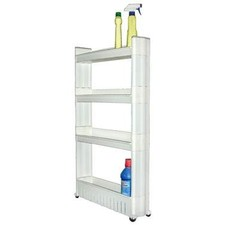 4-Tier Slim Plastic Trolley with Casters