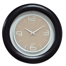 Wood & Glass Contemporary Round Wall Clock