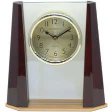Piano Finish Wood & Glass Mantel Clock