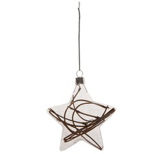 Glass Hanging Star Ornament with Twigs