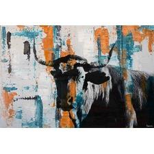 Orange Teal Steer Canvas Wall Art