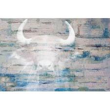 White Bull Shadow Canvas Wall Art