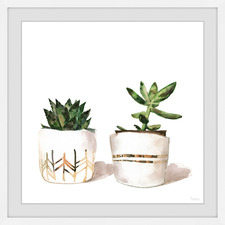 Golden Potted Cactus Framed Printed Wall Art