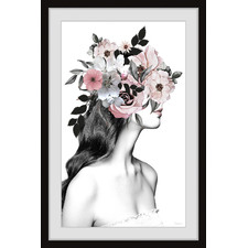 Flower Brunette Framed Printed Wall Art