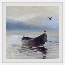 Little Brown Boat Framed Printed Wall Art