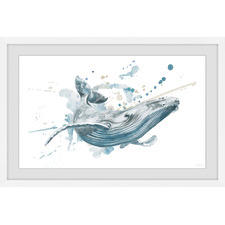 Blue Whale Splash Framed Printed Wall Art