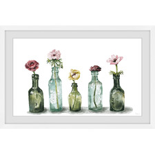 Flower in a Bottle Framed Printed Wall Art