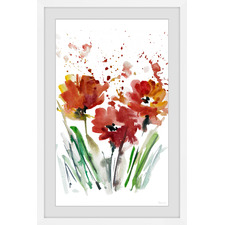 Flowers Smudge Framed Printed Wall Art