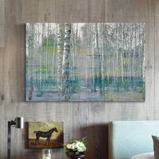 Teal Tree Forest Canvas Wall Art