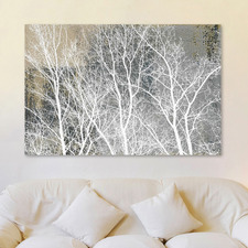 Frosty White Branches Canvas Wall Art