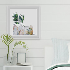 Tropic Palm Vases Framed Printed Wall Art