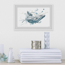 Blue Whale Splash Framed Printed Wall Art