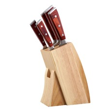 6 Piece Gourmet Kitchen Knife & Wood Block Set