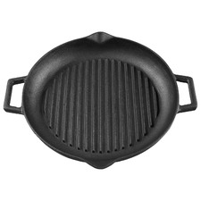 31cm Gourmet Kitchen Cast Iron Grill Pan with Vegetable Oil Coating